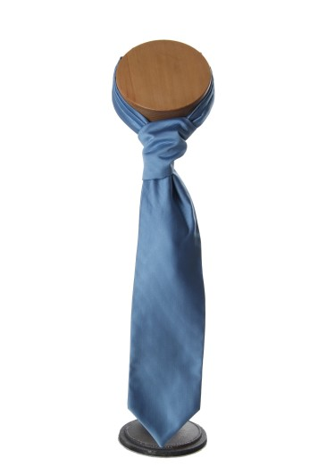 Steel blue ribbed grooms wedding cravat