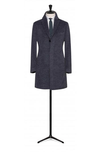 stone grey wool-mohair buisness overcoat