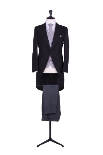 Navy tailcoat wedding suit hire