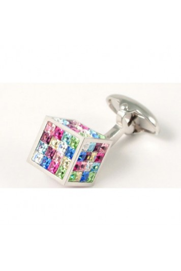 Swarovski crystal cubes cuff links