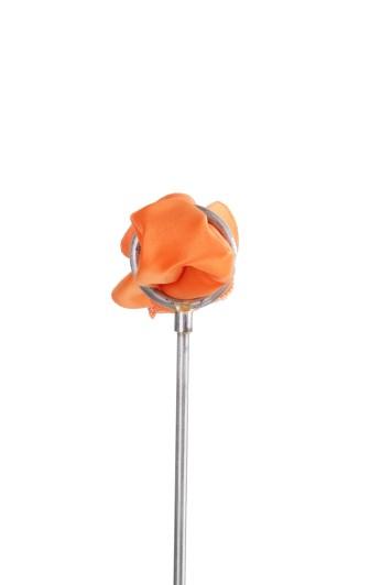Orange satin Grooms wedding pocket square