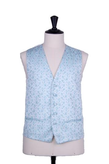Teal floral wedding waistcoat