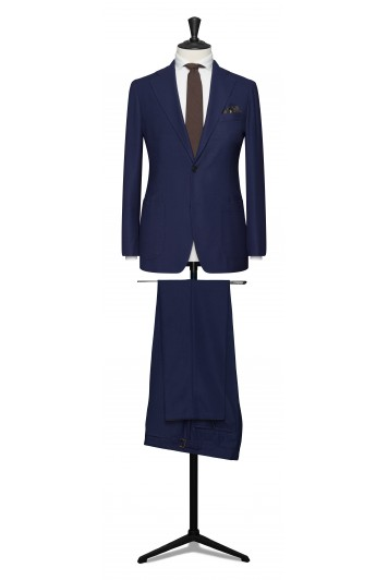 Napolitan blue hopsack pure wool made to measure grooms suit