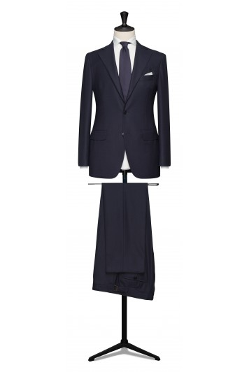 Navy hopsack pure wool made to measure grooms suit