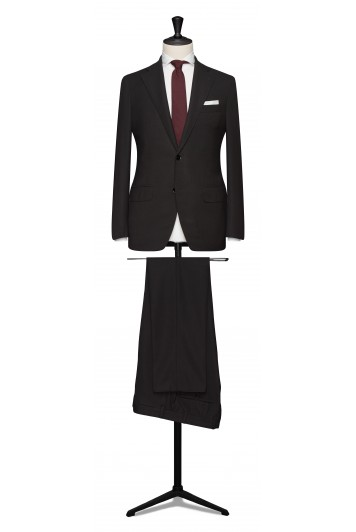 Black hopsack pure wool made to measure grooms suit