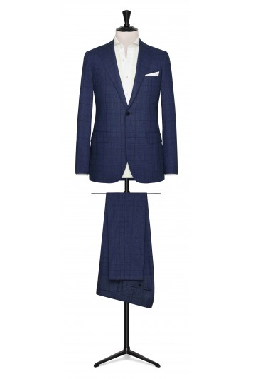 Mid Blue-dark Blue high-twist tropical glencheck made to measure suit