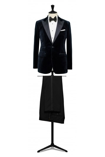 Midnight blue velvet dinner suit made to measure