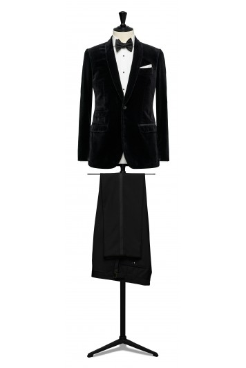 Black velvet dinner suit made to measure