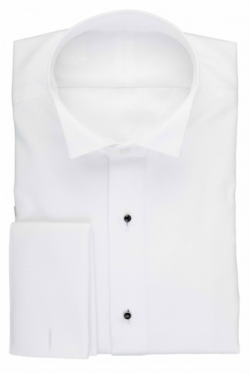 White marcella wing collar dress shirt with studs