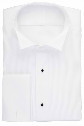White pleated wing collar dress shirt with studs