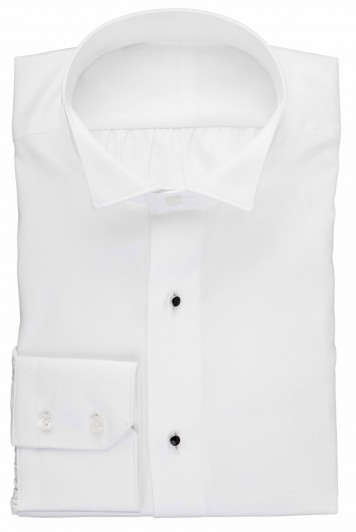 White wing collar dress shirt with studs