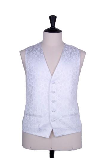 Floral white wedding waistcoat
