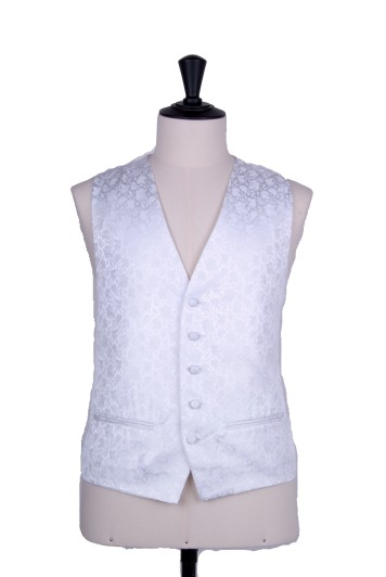 White Grooms wedding waistcoat floral