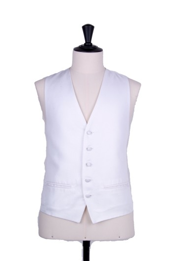 Oxford weave white Grooms wedding waistcoat