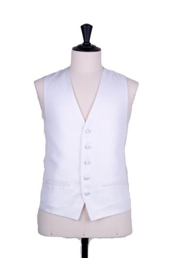 Oxford weave white Grooms wedding waistcoat