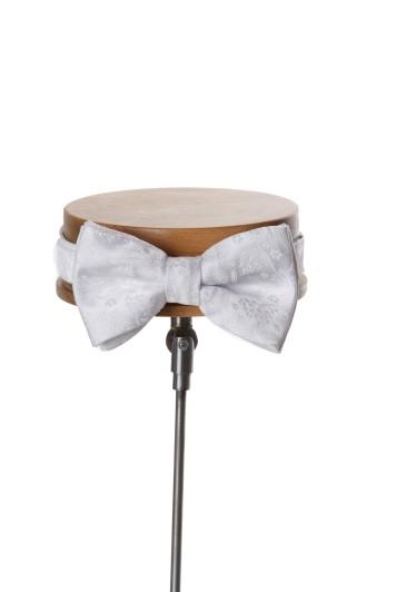White floral wedding bow tie