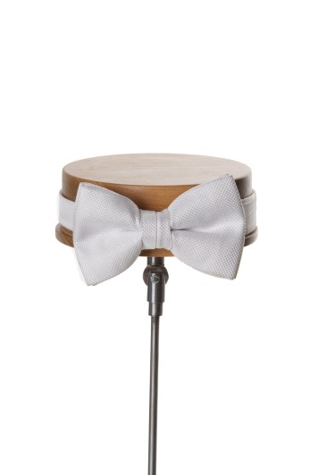 White textured wedding bow tie