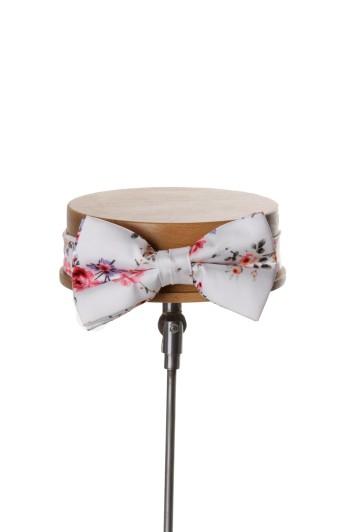 Vintage floral white Grooms wedding bow tie