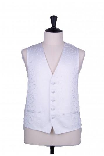 swirl white wedding waistcoat