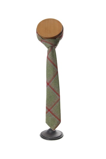 Tweed green red check groom wedding tie