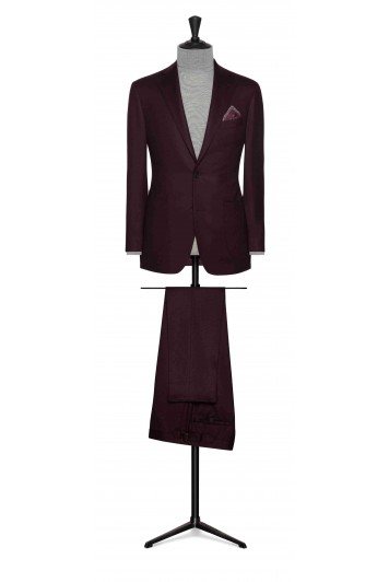wine red wool twill wedding suit