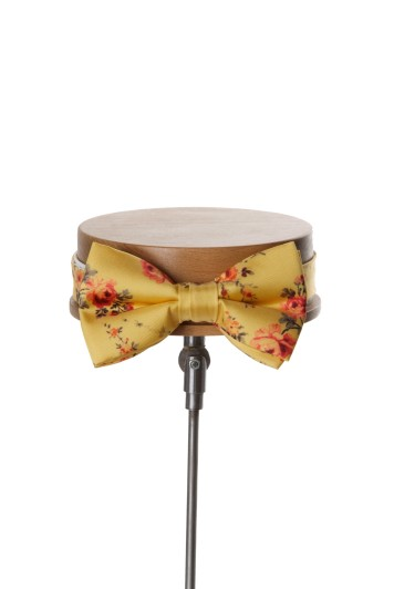 Tea rose yellow vintage floral wedding bow tie